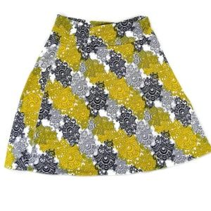 Tranquility Women's Yellow Gray Paisley Skirt Med